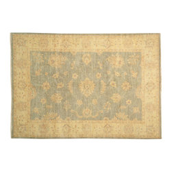 6' X 8' Oushak Oriental Rug, Hand Knotted 100% Wool Green Washed Out Rug SH13571 - Hand Knotted Oushak & Peshawar Rugs are highly demanded by interior designers.  They are known for their soft & subtle appearance.  They are composed of 100% hand spun wool as well as natural & vegetable dyes. The whole color concept of these rugs is earth tones.