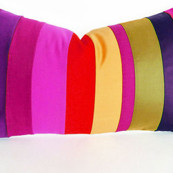 PillowThrowDecor - Spring Pillow Collection - Fun color blocked accent pillow with olive green, raspberry, plum purple, pink, orange, yellow, grape, fuchsia .... lip smacking colors to add fun energy to your spring decor! Handmade piece by piece.