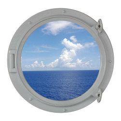 """Handcrafted Model Ships - Gloss White Porthole Window 15"""" - Beach Bedroom Decoration - This Gloss White Porthole Window 15"""" adds sophistication, style, and charm for those looking to enhance rooms with a nautical theme. This boat porthole has a sturdy, heavy and authentic appearance, yet it is made of wood and fiberglass to lower the weight for use as nautical wall decor. This porthole window makes a fabulous style statement in any room with its classic round frame, five solid rivets and two dog ears surround the perimeter of the porthole frame."""