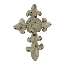 Zeckos - Distressed Finish Decorative Fleur De Lis Cross Wall Hanging - This beautifull wall cross features a classic Fleur De Lis design and a highly distressed faux finish to add an antique looking accent to your wall and the room Crafted from polyurethane materials, it`s hand-painted, and easily hangs with just a single nail or screw using the attached hanger on the back. It measures 16 inches (41 cm) high, 11 inches (28 cm) wide, 1 inch (3 cm) deep, and makes a wonderful gift sure to be admired