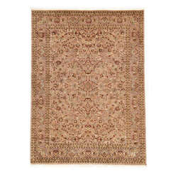 Rug Knots - Multi Colored Persian Hand Knotted Area Rug 9x12.2 - Give your room a little romance with this elegant rug. Featuring soft pinks, rich reds, and warm beiges, this rug is full of charm and feminine character. Intricate designs are displayed across its 9x12 canvas, giving it a touch of formality without overbearing its casual vibe. Curved lines unify the detailed patterns and a simple green exterior border add nice contrast to the whimsical floral prints knotted throughout the rug's interior. This large rug would make a perfect foundation for dark leather coach, a richly colored wood table, or a masculine piece of furniture.