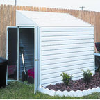 Arrow Sheds - Arrow Yardsaver 4x7-foot Steel Shed - This 4-foot by 7-foot steel barn features horizontal wall panels with 154-cubic-foot capacity. With double swing-out doors,this shed is perfect for a setting against a wall or stand alone.