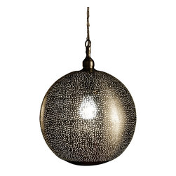 Artemano - Dome Shaped Pierced Metal Hanging Lamp - This perforated metal hanging lamp casts a warm, diffused glow that looks especially good over a kitchen island, dining room table or entryway. The stunning pierced dome shaped pendant lamp has an industrial chic design that is sure to shine in any space!