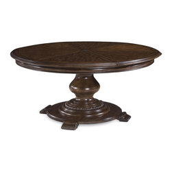 A.R.T. Furniture - A.R.T. Furniture Coronado Round Pedestal Dining Table - Barcelona Walnut Brown - - Shop for Dining Tables from Hayneedle.com! The A.R.T. Furniture Coronado Round Pedestal Dining Table Barcelona Walnut features a rare beauty and an even rarer design expanding from 64 inches to 80 inches round with its six self-storing pie-shaped leaves. The table s round shape and traditional Spanish style are ideal for dining rooms where its radiata hardwood walnut veneer serigraph silk screen detailing and center turned pedestal add abundant visual interest.About A.R.T. FurnitureFounded in 2003 A.R.T. Furniture creates beautiful high-quality furniture inspired by architecture and design. Their sophisticated aesthetic draws upon the best of traditional European furniture designs as well as rustic coastal and transitional styles. A.R.T. Furniture is known for its themed collections that reinvent classic forms for the needs of contemporary home decorators. Their dining room bedroom entertainment and living room furnishings are constructed from sustainably forested hardwoods and veneers. A.R.T. Furniture is distinguished by its superior craftsmanship and attention to detail taking the extra step in the manufacturing process to ensure quality beauty and durability for its customers.
