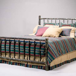 Hickory Rail Bed  FR-410 - Constructed of hickory saplings with the bark left on. Can be made wood stained with the bark peeled off. Made to any dimensions and specifications. Can be made as headboard only or with a surround and as a four post bed with or without canopy.