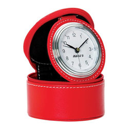 Maple's Clocks - Lady's Travel Table Alarm Clock - Button battery included. Beep alarm. In roomy synthetic leather case. Color/Finish: Red. 3 in. W x 3.7 in. D x 4 in. H (0.3 lbs.)