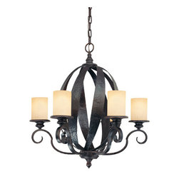 Savoy House - 6 Light Hand Forged Chandelier - Savoy House 1-220-6 Carmel 6 Light Hand Forged Chandelier with Ribbed GlassThis strong family from Karyl Pierce Paxton feature criss- crossed wide iron strapping, hammered for a rustic appearance. Hand forged with quality craftsmanship and finished in Slate, Carmel was crafted to impress.Features: