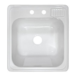 Lyons Industries - Lyons Industries Utility Sinks Laundry Tub Top Mount Acrylic 20 x 22 x 12 - Lyons Industries high-gloss acrylic sinks are manufactured with top quality materials and a devotion to craftsmanship. The high-gloss finish adds to a brighter shine and better wear resistance. Fiberglass insulation offers quieter performance and increase temperature stability. Lyons patented clip system makes installations literally a snap ideal for new construction and remodeling. 100% made in the U.S.A. This laundry sink offers 12 in. of depth ideal for hand washables. Color: White.