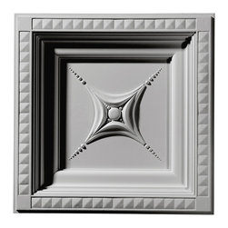 "Ekena Millwork - 24""W x 24""H x 2 7/8""P Star Ceiling Tile - 24""W x 24""H x 2 7/8""P Star Ceiling Tile. Our ceiling medallion collections are modeled after original historical patterns and designs. Our artisans then hand carve an original piece. Being hand carved each piece is richly detailed with deep relief, sharp lines and a truly unique touch. That master piece is then used to create a mould master. Once the mould master is created we use our high density urethane foam to form each medallion. The finished look is a beautifully detailed, light weight, solid construction, focal piece. The resemblance to original plaster medallions is achieved only by using our high density urethane and not vacuum formed, plastic type medallions. Medallions can be cut using standard woodworking tools to add a hole for electrical or a ceiling fan canopy. Medallions are light weight for easy installation. They are fully primed and ready for your paint."