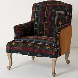 """Anthropologie - Kantha Armchair - Natural finishWebbed seat constructionLinen, cotton upholstery Mango wood frame; polyfillProfessionally clean41""""H, 27""""W, 25""""DSeat: 15""""HImported"""