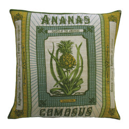 "KOKO - Botanica Pillow, Ananas Comosus Print, 20"" x 20"" - A little pop of a botanical print can go a long way. It's easy to love the vintage and tropical feel of this pillow. Use it as a fun accent for a side chair or layered with other prints on a sofa."