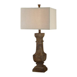 "Crestview - Crestview CVAUP853 Balustrade Table Lamp - Balustrade Table Lamp Balustrade Table Lamp 33.5""Ht., Resin Distressed Wood Finish 15/15 x 15/15 x 11 Linen Fabric  33.5""Ht"