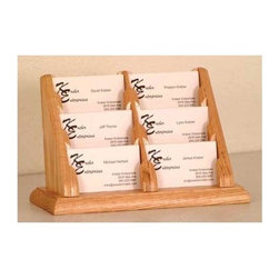 Wooden Mallet - Six-Compartment Business Card Holder in Oakes - Finish: Light OakMake sure clients never leave your office without grabbing a business card with this stylish six-compartment business card holder, a durable oak piece available in your choice of finishes. With six pockets, this holder is designed to hold lots of cards, and is perfect for a salon, where the cards of multiple stylists can be displayed. Tiered to offer a full view of each pocket. Each pocket sits 0.5 in. D to hold a large supply of cards. Made of solid oak sides and bottom sealed in a durable state-of-the-art finish. Pictured in Light Oak. No assembly required. 4.375 in. D x 9.5 in. W x 5.75 in. H (1 lb.). 1-Year warrantyWooden Mallet's solid oak countertop business card holders are an attractive way to display multiple cards in an organized fashion. These racks work well to present business cards in any setting or use them for gift cards at point of sale.