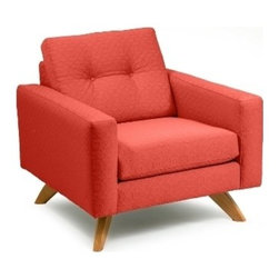 Loni M Designs - Loni M Designs Stanley Coral Textured Accent Chair - Mid-Century modern chair in a textured cotton. Alder wood frame for maximum durability. Loni M designs has come a long way from originally designing and manufacturing custom pillows only. They have added a full collection of sofas chairs ottomans chaise lounges benches and headboards. All manufacturing and distribution is done in the U.S.A. out of a 300000 sq. ft. facility for 25 plus years in the Los Angeles Ca. furniture district. A significant portion of their business is via e-commerce websites retailers and high-end interior designers.  Within the home furnishings industry Loni M Designs is noted for its keen sense of style colors fabric selections and craftsmanship. They have maintained their focus on developing strong partnerships with the e-commerce website multi-unit chains stores and interior designers. To accentuate the appeal of their collection Loni M. Designs features some traditional pieces as well as contemporary and mid-century modern styles. Their attention to lifestyle trends fabrics and colors allows them to provide home furnishings to their clients that provide comfort style and quality. Specifications Fabric Color: Coral Material: 100% Cotton.