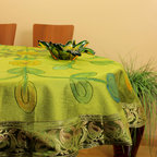 "Unique & DecorativeTablecloths - ""Citrus Green"" Beautifully painted by hand in India. 53"" Round Tablecloth. Dupion Silk fabric. Great complement for the holidays."