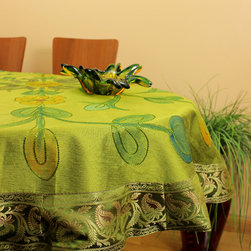 """Unique & DecorativeTablecloths - """"Citrus Green"""" Beautifully painted by hand in India. 53"""" Round Tablecloth. Dupion Silk fabric. Great complement for the holidays."""