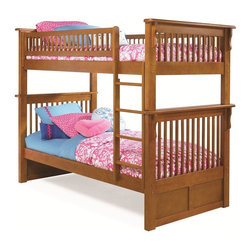 Atlantic Furniture - Colorado Twin Over Twin Bunk Bed in Caramel Latte - This bed has 1-inch hardwood long rails, rock solid Eco-friendly Hardwood 2x4 posts and built in modesty panel. Crafted from wood and finished in Caramel Latte, using 5-step high build finishing process.