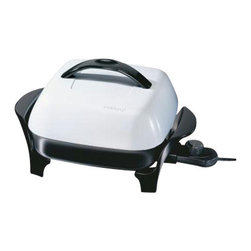 """Presto - Electric Skillet Domed Lid 11"""" - Presto 11"""" Electric Skillet with high-dome EverNu lid. The EverNu lid is so durable it won't dent, warp, bend or peel and will accommodate large roasts. hams and poultry in virtually warp-proof heavy cast aluminum base. Accurate cooking temperatures are maintained with the Control Master heat control. Deluxe nonstick finish, inside and out for stick-free cooking and easy cleaning. Skillets are fully immersible and dishwasher safe with the heat control removed."""