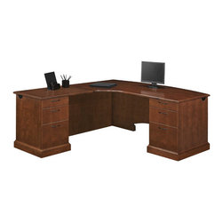 """DMi - Belmont Right Corner """"L"""" Executive Desk with 6 Drawers - Features: -Material: Hardwoods.-Consists of a left corner single pedestal desk and a right single pedestal return.-Drawers are suspended on full extension, metal ball-bearing slides.-File drawers accommodate letter and/or legal sized hanging files.-Desk a felt-lined box/box/file drawer pedestal, locking pedestal and a cable grommet in each end panel.-Return a box/box/file drawer pedestal, locking pedestal and a cable grommet in the end panel and modesty panel.-Drawers: Solid wood, five sided dovetail construction with 3-ply veneer bottoms.-Durable UV finish resistant to stains, mars and scratches.-Belmont collection.-Distressed: No.-Collection: Belmont.Dimensions: -Corner single pedestal desk: 30'' H x 72'' W x 48'' D.-Single pedestal return: 30'' H x 38.5'' W x 24'' D.-Dimensions: 30'' H x 72'' W x 86.5'' D.-Overall Product Weight: 523 lbs.Assembly: -Assembly required."""
