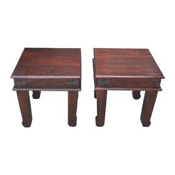 Sierra Living Concepts - Rustic Solid Wood Iron Accents End Side Table Set of 2 - Beautiful mahogany finish solid wood end side table.
