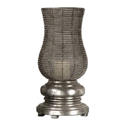 Uttermost - Uttermost Rickma Candle Holder in Antiqued Silver Leaf - Shown in picture: Antiqued Silver Leaf. Distressed White Candle Included. This statuesque candleholder features a heavily distressed - chestnut brown base with a woven metal globe finished in antiqued silver leaf. Distressed white candle included.