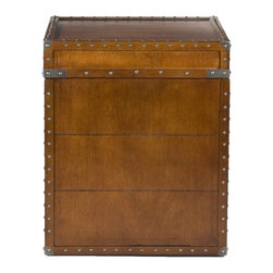 Holly & Martin - Holly & Martin Bristol Trunk End Table - Crafted with a replicated antique look, this steamer trunk side table is ideal as a decorative, yet functional accent. Whether it's placed in your living room or bedroom, the convenient storage under the lid is sure to help clear the clutter. The rich walnut finish is accented with antique brass rivets along the trim. The lid opens with the help of progressive hinges that prevent slamming. This classic styled trunk is a great solution for your home.