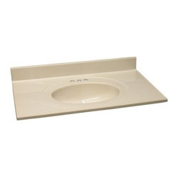 Design House 31W x 22D in. Cultured Marble Integral Sink Vanity Top - The seamless design of the Design House 31W x 22D in. Cultured Marble Integral Sink Vanity Top will update your vanity and add style to your bathroom. First choose from a variety of great color options that compliment your existing decor and you're on your way to bringing your dream bathroom to life. This vanity top is crafted from cultured marble that's as luxurious as it is long-lasting. It features three pre-drilled holes to make installing a faucet easy, drip-free edges that catch excess water, and there's even a matching marble back splash! A back splash gives your bathroom a more finished look and serves as a terrific barrier between your wall and the vanity to prevent any mold and water damage. Lastly, a 6-inch oval bowl is fully integrated into the top and that not only looks marvelous, but it makes installation a whole lot easier! The Cultured Marble Single Sink Vanity Top is compliant with CSA, cUPC, and ANSI industry standards and is backed by a 5-year limited warranty that protects against defects in materials and workmanship.About Design HouseWith Design House, you can design with your whole house in mind. Design House's range of home decor products boasts several categorizations that easily coordinate every room in your home. WholeHouse encompasses complete home packages that coordinate finish and style across major product categories, and TruMatch ensures matching finishes across all product categories. Design House's products meet rigorous industry standards, too, so you can feel as safe as you do stylish at home.
