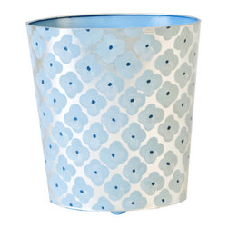 Worlds Away Oval Wastebasket, Silver and Blue - Oval Wastebasket, blue and silver
