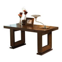 Global Views - Open Block Writing Desk - Made of wood and hardwood. Exotic zebra wood veneer. Dark walnut color stain. Finished with lacquer and a hand rubbed wax finish. One oversized pencil drawer. Easy assembly required.