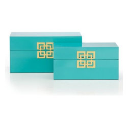 Z Gallerie - Ming Boxes - Set of 2 - Storage so stylish that it dare not be relegated to the closet. Our Ming Storage Boxes are designed exclusively for Z Gallerie, with a focus on utility but an eye on fashion for your home.  These sturdy wooden boxes are richly covered in a glossy aquamarine finish, providing a lustrous shine.  The lids are finished with a decorative gold geometric medallion and metal hinges at the back.  Available in Gold with nickel hardware, Silver with nickel hardware, White with nickel hardware, Black with gold hardware, Aquamarine with gold hardware, and Mandarin with gold hardware.