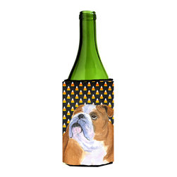 Caroline's Treasures - Bulldog English Halloween Portrait Wine Bottle Koozie Hugger SS4285LITERK - Bulldog English Candy Corn Halloween Portrait Wine Bottle Koozie Hugger SS4285LITERK Fits 750 ml. wine or other beverage bottles. Fits 24 oz. cans or pint bottles. Great collapsible koozie for large cans of beer, Energy Drinks or large Iced Tea beverages. Great to keep track of your beverage and add a bit of flair to a gathering. Wash the hugger in your washing machine. Design will not come off.