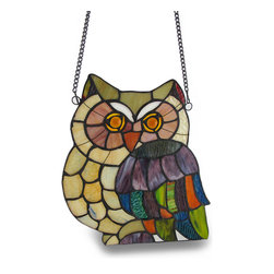 Zeckos - Stained Glass Owl Colorful Hanging Art Glass Window Panel - Hang this stained glass owl panel in a window and let the sun illuminate the room in colorful style Crafted from dozens of hand-cut stained art glass pieces and amber cabochon eyes, this 11.5 inch long, 9.5 inch wide (29 X 24 cm) owl hangs from the wall, too for a truly eye-catching display A 21 inch long metal chain is included making this decorative owl display a total of 19 inches long. This striking stained glass owl window panel makes a wonderful gift any owl or nature lover is sure to enjoy