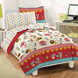 None - Circus 7-piece Bed in a Bag with Sheet Set - This ultra-soft microfiber comforter set features elephants,monkeys,lions,and circus tents in shades of red,blue,yellow,gray,black and brown on a white background. A coordinating sheet set showcases multicolored geometric circles on a white ground.
