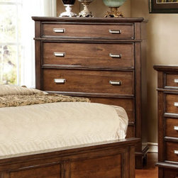 Furniture of America - Detailed Parker 5 Drawer Chest - Brown Cherry - IDF-7985C - Shop for Dressers from Hayneedle.com! The slate top panel design of the Detailed Parker 5 Drawer Chest - Brown Cherry accents your room in transitional style. The solid wood construction of this chest showcases a complementing brown cherry finish. Included with five spacious drawers each drawer features ages silver drawer handles for easy access. Every drawer within this chest sits on smooth gliding full extension metal drawer glides. The top drawer is felt lined for optimal personal care. Its English dovetail joint structure ensures durability that lasts. About Furniture of AmericaBased in California Furniture of America has spent more than 20 years establishing itself as a premier provider of fine home furnishings to urban-minded shoppers. The people behind the brand are moved by passion hard work and persistence and their company's mission is to design the latest piece and offer high-quality furniture to trendy shoppers without compromising packaging integrity. Furniture of America offers unique coordinated and affordably designed furniture - not to mention exceptional style.
