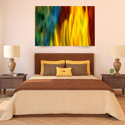 Fire and Water Digital Art Abstraction in Furnished Rooms - My inspiration came from sunlight as it  passes through a fall tree illuminating the leaves and creating a dappled light. The neutral tones of the room set off the brilliant oranges and the pillows repeat the boldness of the digital art painting.  Digital Art Prints available on paper, canvas, waterproof metal and acrylic. Different sizes, proportions and panels available upon request. Print prices start at $18.00.