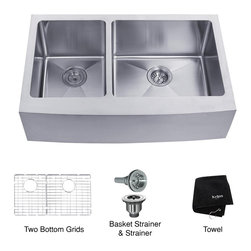 Kraus - Kraus 33 inch Farmhouse Apron Kitchen Sink - Add an elegant touch to your kitchen with a unique and versatile farmhouse apron sink from Kraus