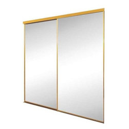 CONTRACTORS WARDROBE - SAVOY 71 X 80 MIRROR DR GOLD - Mirror bypass doors with gold painted steel frame.