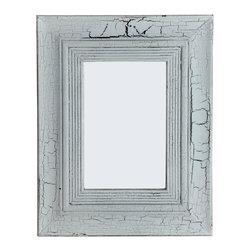PALE Rectangular Mango Wood Mirror, Antiqued/Crackeled White Finish, 2-way Hangi - Rectangular Wood Mirror with white crackling finish - cottage d�cor for your home.
