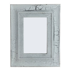 PALE Rectangular Mango Wood Mirror, Antiqued/Crackeled White Finish, 2-way Hangi - Rectangular Wood Mirror with white crackling finish - cottage d�cor for your home.