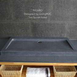 """GRANITE TROUGH BATHROOM SINK 39""""x19"""" IN TRENDY GRAY NATURAL STONE - FIGARO - Reference: BB513-3-US"""