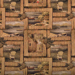 Rustic Cabin Fishing Boat Chair Acorns Tapestry Upholstery Fabric By The Yard - P0110 is an upholstery grade tapestry novelty fabric. This fabric is excellent for cabins, lodges, homes and commercial uses.