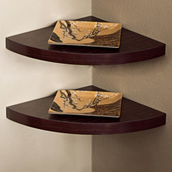 Danya B - Set of Two Wood Walnut Veneer Corner Wall Mount Radial Shelves - This gorgeous Set of Two Wood Walnut Veneer Corner Wall Mount Radial Shelves has the finest details and highest quality you will find anywhere! Set of Two Wood Walnut Veneer Corner Wall Mount Radial Shelves is truly remarkable.