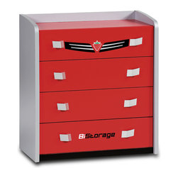 "Cilek - Turbo Drawer - This drawer is part of the ""Need for Sleep"" edition of Turbo Beds. Beautifully crafted by Cilek, this dresser has four useful drawers and is aesthetic thanks to its elegant handles and metallic details. Chest available in glossy red finish can be a great storage for children's themed bedroom."