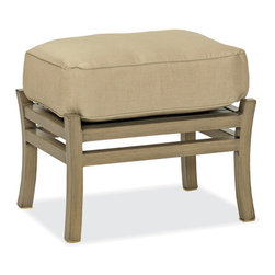 Thos. Baker - Catalina Outdoor Ottoman - The catalina collection features subtly weathered heavy-gauge aluminum frames, elegantly set-off with romantic accents and a classic crossback style. Plush cushion sets are covered in premium Sunbrella outdoor fabrics made-to-order in your choice of signiture solid and textured colors or premium woven and striped patterns.Signature or premium cushion sales are final and ship in 2-3 weeks.