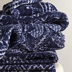 "Fresco Towels - Indigo Batik Towel - By Fresco TowelsTurkish cottonMachine washWashcloth: 12"" squareHand towel: 30""L, 20""WBath towel: 56""L, 30""WUSA"