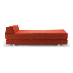"""IDouble Mixed Dance Burned Orange - A stylish blend of function and elegance, the""""Innovation USA"""" IDouble Mixed Dance Burned Orange Daybed is available in stylish burned orange """"mixed dance"""" fabric made from 100% polyester. Its sleek aluminum legs support trapezoid headrest and Idouble's 7"""" Icomfort mattress."""