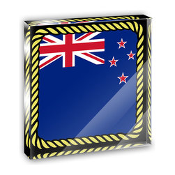 """Made on Terra - Flag of New Zealand Mini Desk Plaque and Paperweight - You glance over at your miniature acrylic plaque and your spirits are instantly lifted. It's just too cute! From it's petite size to the unique design, it's the perfect punctuation for your shelf or desk, depending on where you want to place it at that moment. At this moment, it's standing up on its own, but you know it also looks great flat on a desk as a paper weight. Choose from Made on Terra's many wonderful acrylic decorations. Measures approximately 4"""" width x 4"""" in length x 1/2"""" in depth. Made of acrylic. Artwork is printed on the back for a cool effect. Self-standing."""