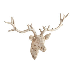 Cyan Design - Cyan Design Open Antler Transitional Wall Decor - This Cyan Design wall art starts with trendy taxidermy inspiration. The deer head features large antlers and plaster construction, with semi-lifelike details. He is completed with an Antique French White finish that plays off the aged and loved appearance.