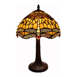 Warehouse of Tiffany - Tiffany Style Amber Dragonfly Table Lamp - Beautiful stained glass dragonflies ring the bottom of this Tiffany-style hanging lamp. This 2-light lamp is finished in a rich bronzetone with an inline power switch.