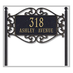 Lewis Fretwork Lawn Mount Address Plaque - Help friends and guests locate your home while adding a touch of distinction and curb appeal with a beautiful lawn mount address plaque.
